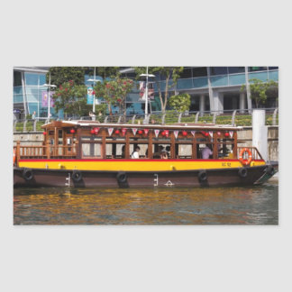 Colorful river cruise boat in Singapore Rectangular Sticker