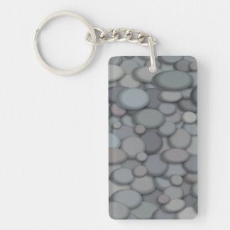 Colorful River Rock Pebbles Art Keychain