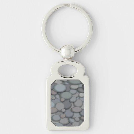 Colorful River Rock Pebbles Art Key Chain