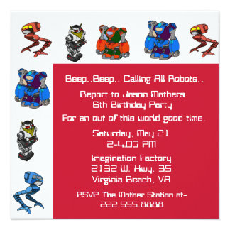 Colorful Robot Birthday Party Invitation