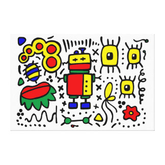 colorful robot canvas print
