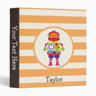 Colorful Robot on Orange Stripes Vinyl Binders