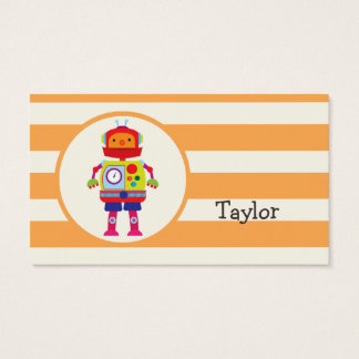Colorful Robot on Orange Stripes Business Card