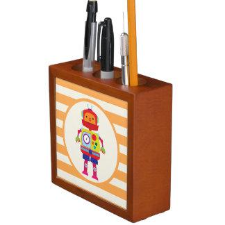 Colorful Robot on Orange Stripes Pencil/Pen Holder