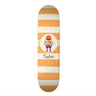 Colorful Robot on Orange Stripes Custom Skate Board