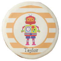 Colorful Robot on Orange Stripes Sugar Cookie