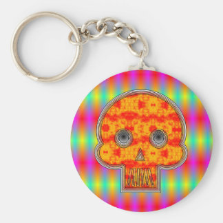 Colorful Robot Skull On Rainbow Background Keychain