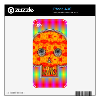 Colorful Robot Skull On Rainbow Background Skins For iPhone 4S