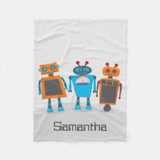 Colorful Robot Trio Fleece Blanket