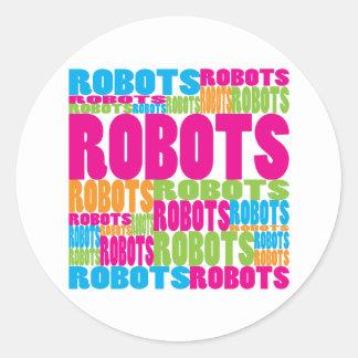 Colorful Robots Classic Round Sticker