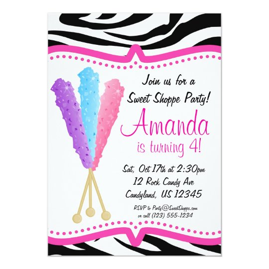 Colorful Rock Candy Birthday Party Invitation