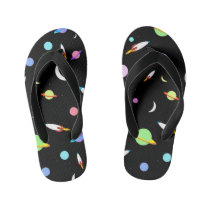 Colorful Rockets Planets Moons Stars Outer Space Kid's Flip Flops