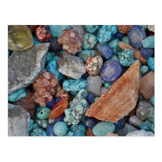 Colorful rocks, stones, pebbles design postcard
