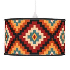 Colorful Romanian Folk Motifs Hanging Lamp
