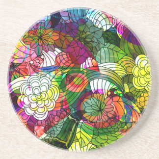 Colorful Romantic Floral Collage Drink Coasters