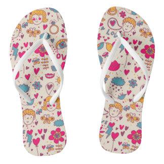 Colorful romantic pattern flip flops