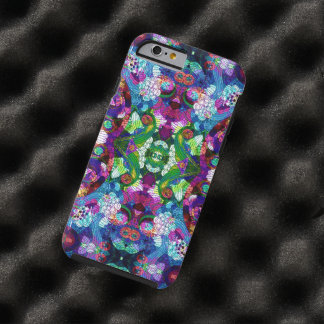 Colorful Romantic Retro Floral Symmetrical Collage Tough iPhone 6 Case