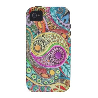 Colorful Romantic Vintage Floral Pattern Case-Mate iPhone 4 Case