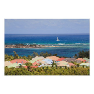Colorful rooftops overlooking the Caribbean Sea Poster