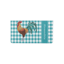 Colorful Rooster and Teal Gingham Checkbook Cover