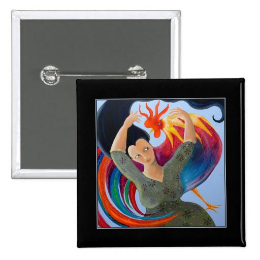 Colorful Rooster and Woman. 2 Inch Square Button