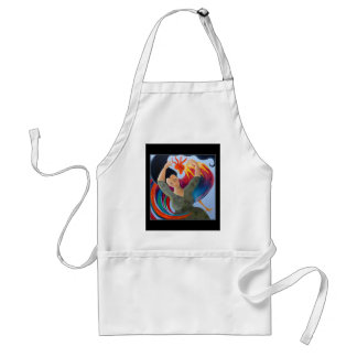 Colorful Rooster and Woman. Aprons