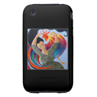 Colorful Rooster and Woman. iPhone 3 Tough Cover
