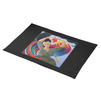 Colorful Rooster and Woman. Cloth Placemat