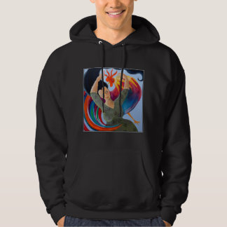 Colorful Rooster and Woman. Hoodie