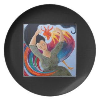 Colorful Rooster and Woman. Melamine Plate