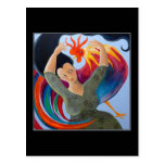 Colorful Rooster and Woman. Postcard