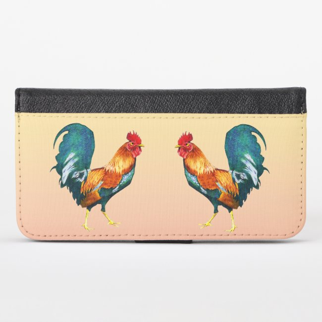 Colorful Rooster Birds iPhone X Wallet Case