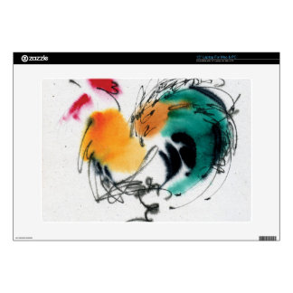 """Colorful Rooster. Calligraphy and watercolor. 15"""" Laptop Skins"""