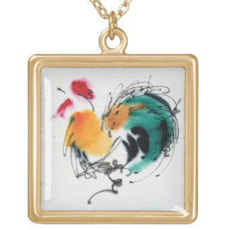 Colorful Rooster. Calligraphy and watercolor. Square Pendant Necklace