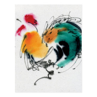 Colorful Rooster. Calligraphy and watercolor. Postcard