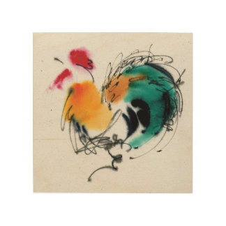 Colorful Rooster. Calligraphy and watercolor. Wood Print