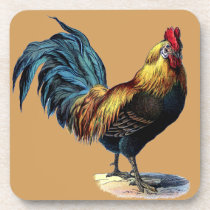 Colorful Rooster Country Chicken Vintage Picture Drink Coaster