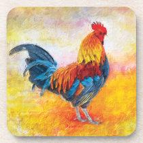 Colorful Rooster Digital Art Painting Beverage Coaster