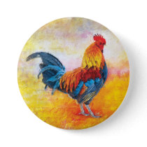 Colorful Rooster Digital Art Painting Button