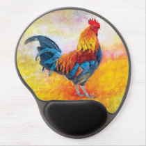 Colorful Rooster Digital Art Painting Gel Mouse Pad