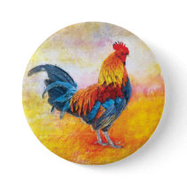 Colorful Rooster Digital Artwork Painting Button