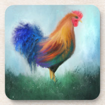Colorful Rooster Fine Art Coasters