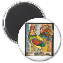 colorful rooster magnet