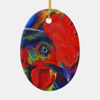 Colorful Rooster Christmas Ornaments