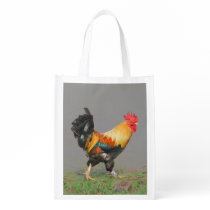 Colorful Rooster Painting Reusable Grocery Bag