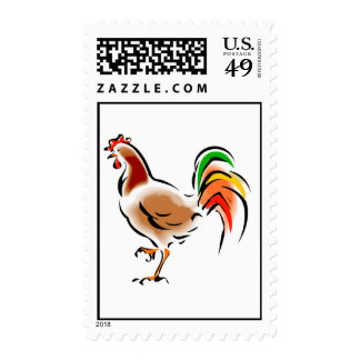 Colorful Rooster Stamp