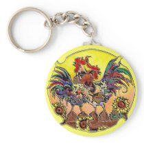 COLORFUL ROOSTERS by SHARON SHARPE Keychain