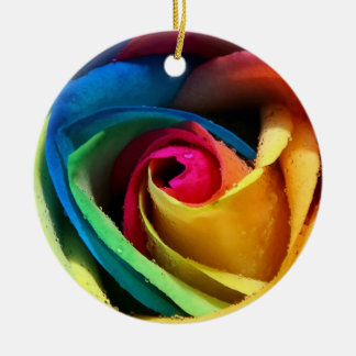 colorful rose ceramic ornament