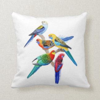 Colorful Rosella Parrots Pillow