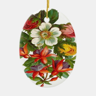 Colorful Roses and Flowers Christmas Tree Ornaments